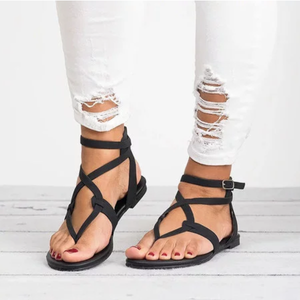 Large Size Adjustable Buckle Flat PU Sandals