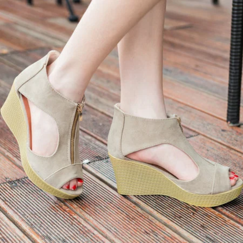 Zipper Flocking Casual Peep Toe Sandal