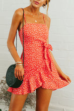 Spaghetti Strap  Backless  Belt  Floral Printed  Sleeveless Casual Dresses