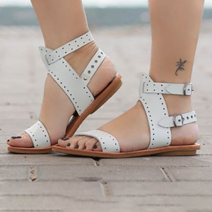 Large Size PU Double Buckle Flat Sandals