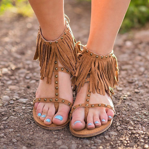 Plus Size Fringed Rivet Zipper Flat Sandals