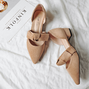 Flocking Bowknot Low Heel Pumps