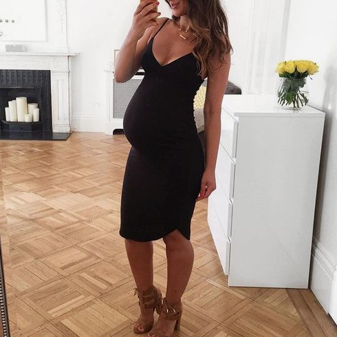 Maternity V-Neck Curved Hem Knee-Length Cami Dress