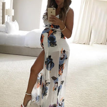 Maternity Flowers Print Full Length Dress