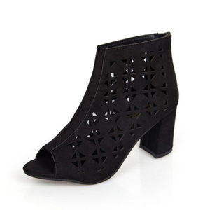 Hollow Out Peep Toe Chunky Heel Zipper Flocking Boots