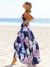Popular Cotton Floral Printed Off Back Deep V Neck Maxi Dress