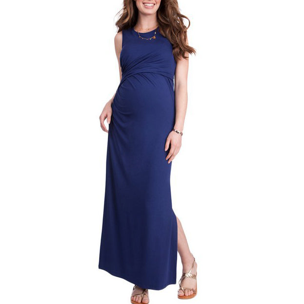 Maternity Side Slit Sleeveless Maxi Dress