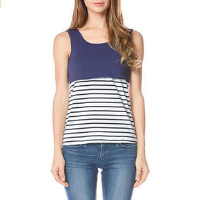 Maternity Stripe Sleeveless Tank Top