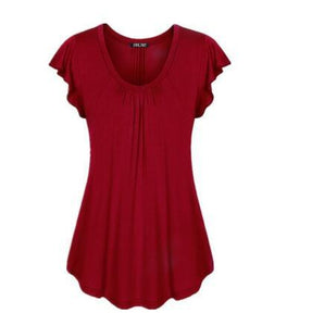 Women Short-Sleeved Loose Round Collar T-Shirt