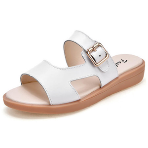 Flat Heel Split Leather Buckle Slippers