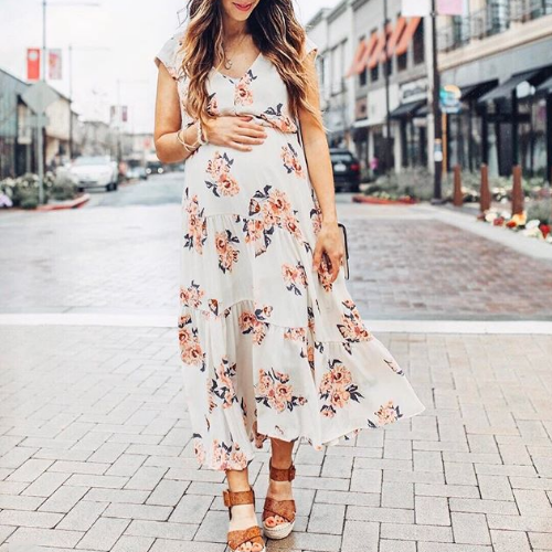 Maternity Floral Print V-Neck Ruffle Ankle-Length Dress