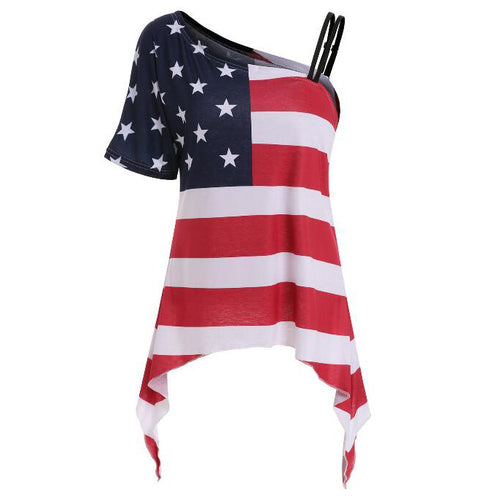 Maternity Stars And Stripes Prints One Shoulder T-Shirt