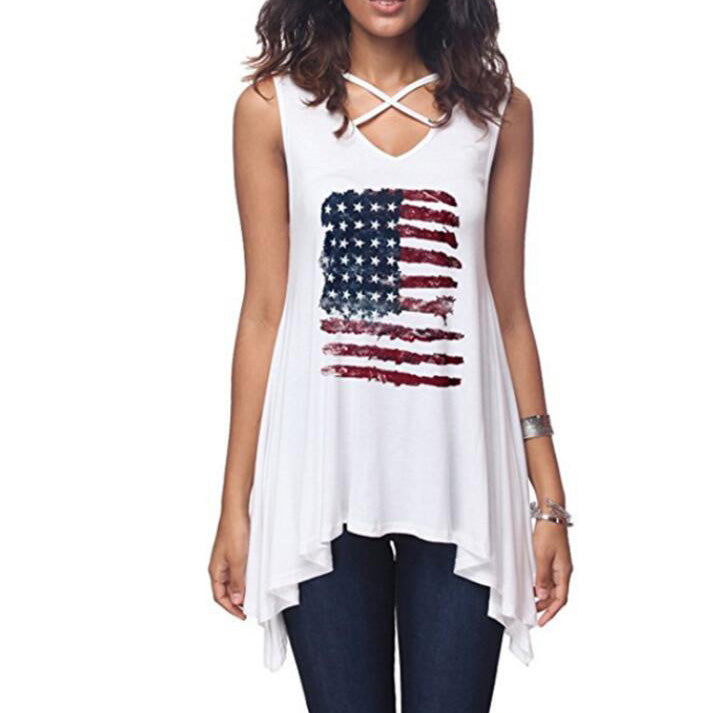 Maternity American Flag Prints Lace-Up T-Shirt