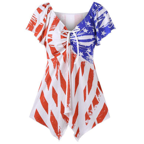 Maternity Stars & Stripes Lace- Up Neck Tops