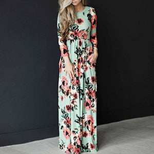 Flowers Print Long Sleeve Dress