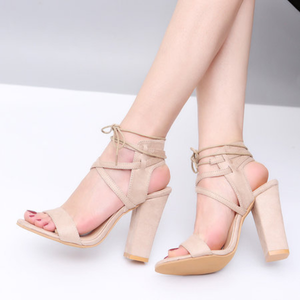 Large Size Chunky Heel Lace-Up Suede Pumps