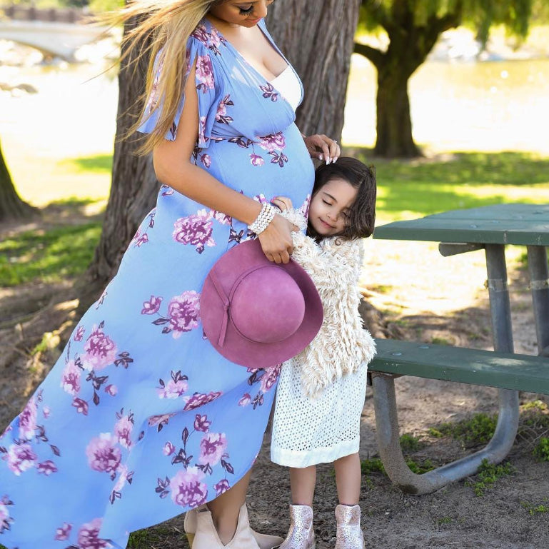 Maternity Floral Print V-Neck Asymmetrical Dress