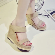 Casual Daily Nubuck Slip On Wedge Heel Shoes