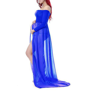 Maternity Off Shoulder Front Slit Maxi Dress