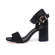 Adjustable Buckle Shoes Women Chunky Heel Sandals
