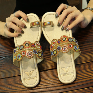 Ethnic PU Flat Slipper Sandals