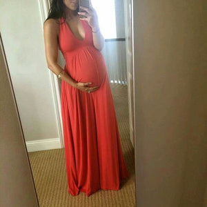 Maternity Off Shoulder Full Length Summer Dress