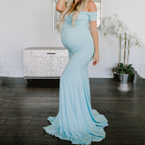 Maternity Off Shoulder Floor-Length Summer Dress
