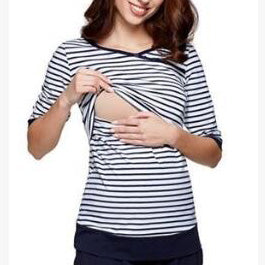 Maternity Stripes Half Sleeve Feeding & Nursing Tops