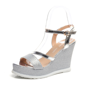 Women Fashion Shoes Solid Colors Buckle Wedges Platform Sequin Roman