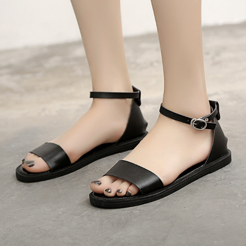 Women Pu Sandals Casual Peep Toe Adjustable Buckle Shoes