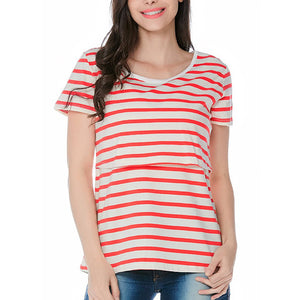 Multifunctional Striped Short-Sleeved Breastfeeding T-Shirt