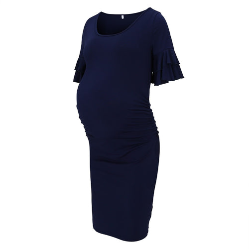 Ruffled Trumpet Sleeve Crew Neck Maternity Dress