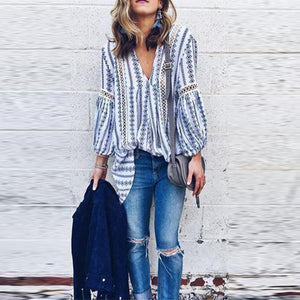 V Neck Bohemian Hollow Out Blouse