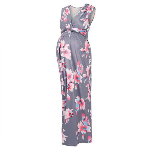 Light Pink Floral Sleeveless Knot Front Maternity Maxi Dress