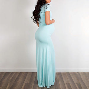 Maternity Short Sleeve Floor-Length Dress