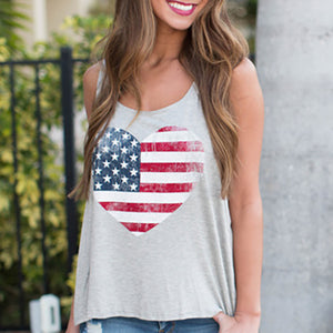 Maternity Stars & Stripes Prints Sleeveless Tank Tops