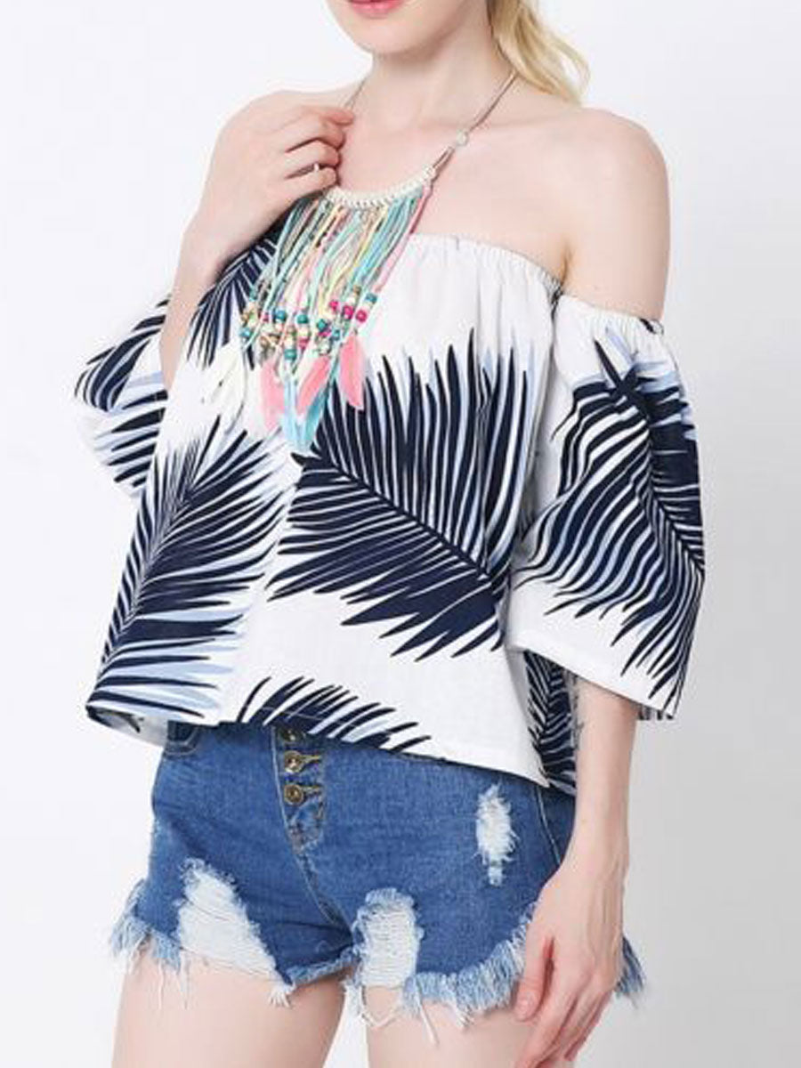 Summer  Cotton  Women  Off Shoulder  Printed  Half Sleeve Blouses