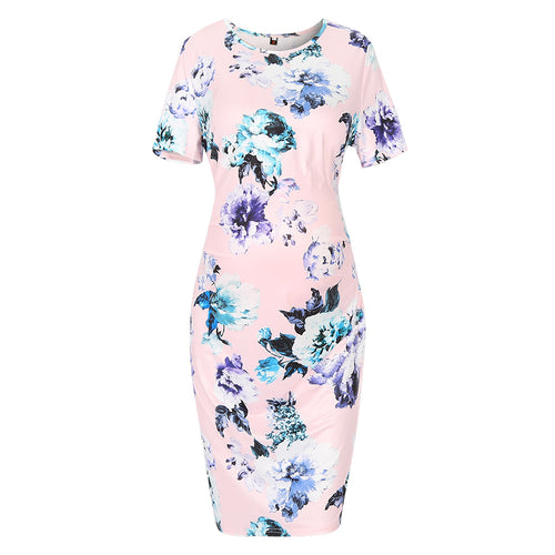Pink Floral Print Fitted Maternity Dress