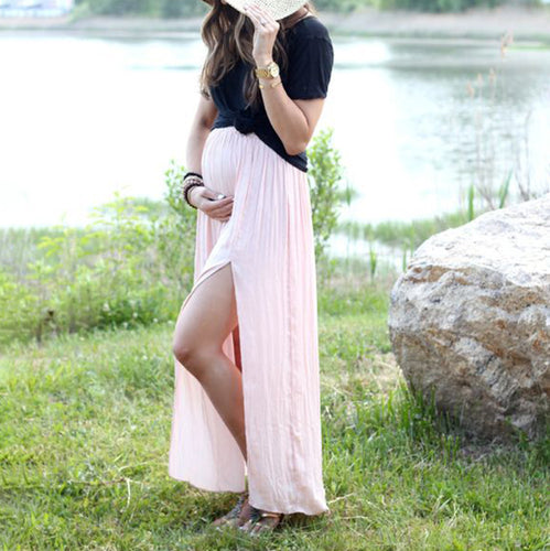 Maternity Short Sleeve Two Pieces Set Dress