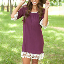 Women Lace Half Sleeve Knee Length Dress