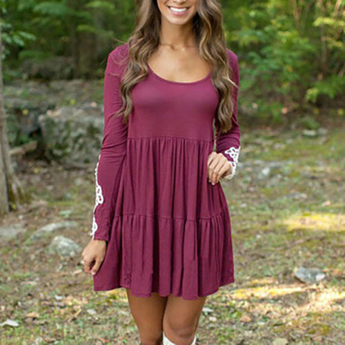 Women Long Sleeve Short Dress