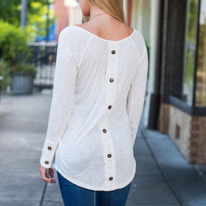 Solid White Causal Button Long Sleeve Tee