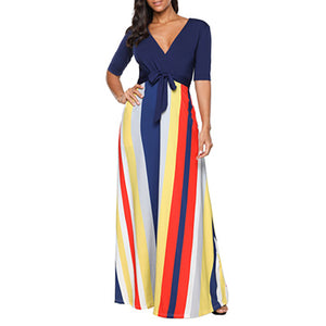 Women Half Sleeve Stripe Dress