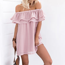 Women Flounced Slash Chiffon Neck Short Dress