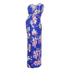 Floral Sleeveless Knot Front Maternity Maxi Dress