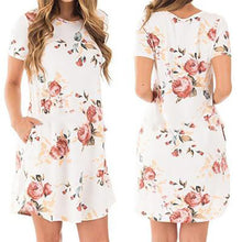 Women Short Sleeve Floral Round Neck Dress