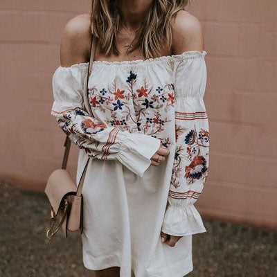 Women Floral Slash Neck Short Dress