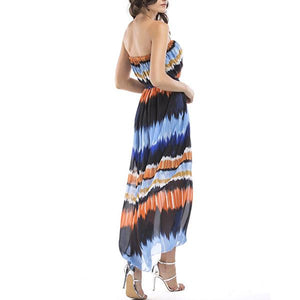 Bule Stripe Chiffon  Maternity  Midi Dress