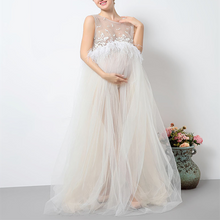 Beige Sleeveless  Lace  Maternity Full Length Dress