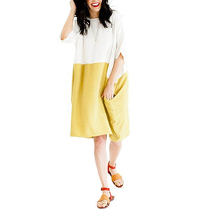 Loose Plain Cotton Linen Shift Dress